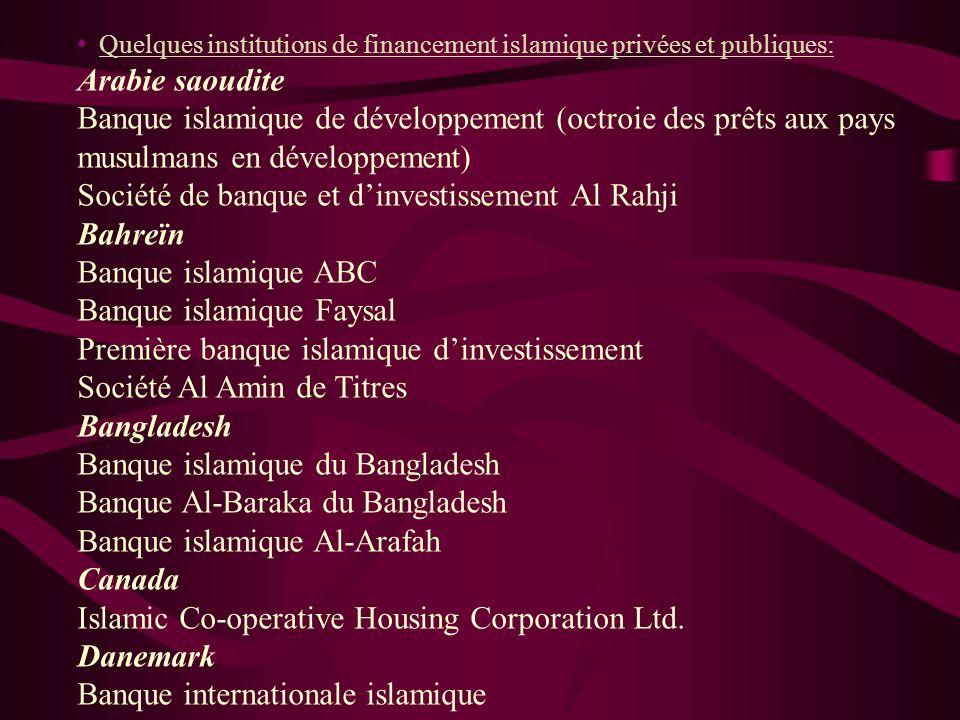 Les institutions financière islamiques ont fait leur apparition dans des pays non musulmans, mais où vit une minorité musulmane relativement important