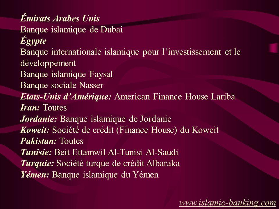 Quelques institutions de financement islamique privées et publiques: Arabie saoudite Banque islamique de développement (octroie des prêts aux pays mus
