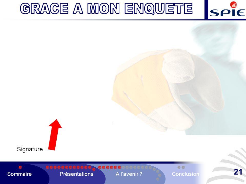 Signature SommairePrésentationsA lavenir ?Conclusion 21