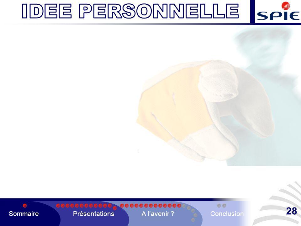 SommairePrésentationsA lavenir ?Conclusion 28