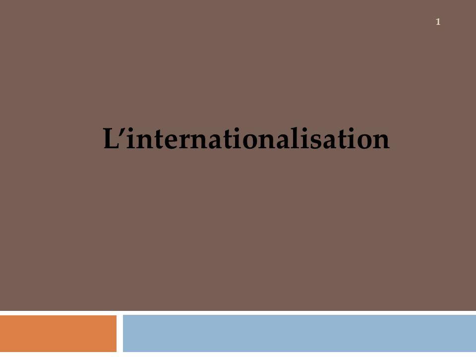 Introduction Linternationalisation représente lentrée dune firme sur des territoires géographiquement, culturellement, économiquement et juridiquement différents de ceux de son marché national.