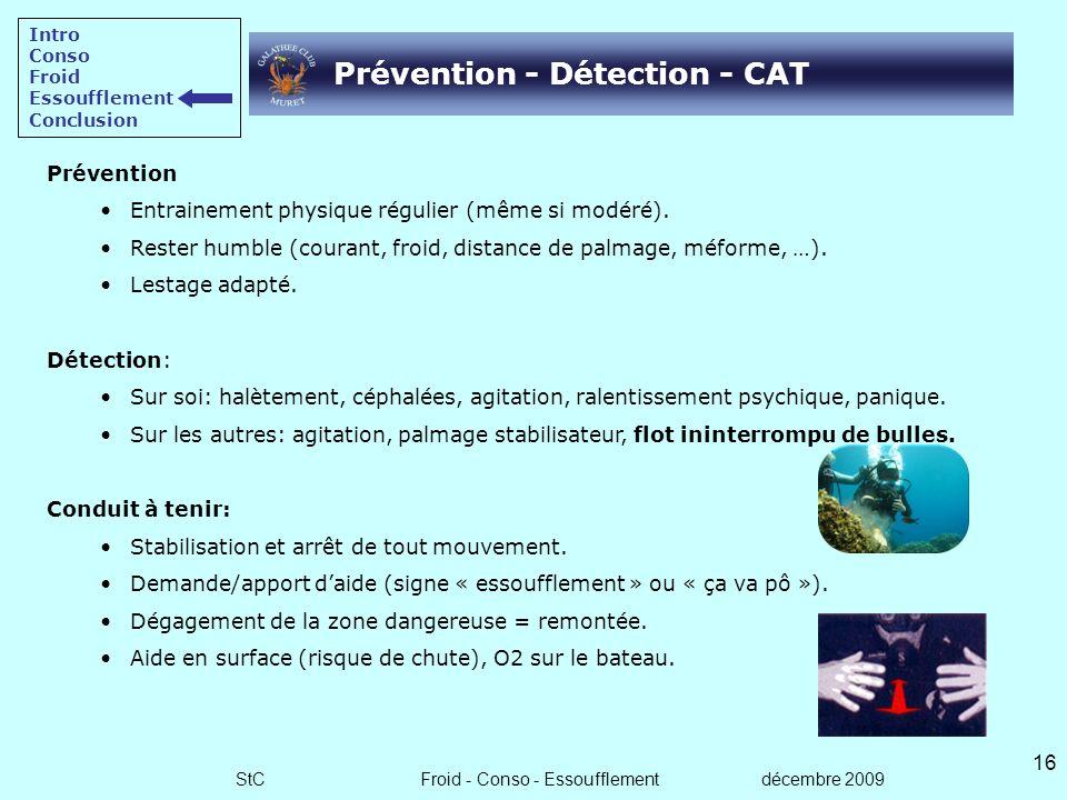 StC Froid - Conso - Essoufflement décembre 2009 15 Facteurs favorisants et conséquences Intro Conso Froid Essoufflement Conclusion ESSOUFFLEMENT Effor