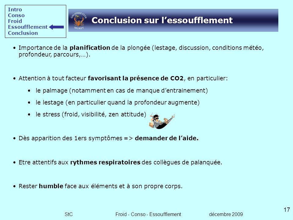 StC Froid - Conso - Essoufflement décembre 2009 16 Prévention - Détection - CAT Prévention Entrainement physique régulier (même si modéré). Rester hum