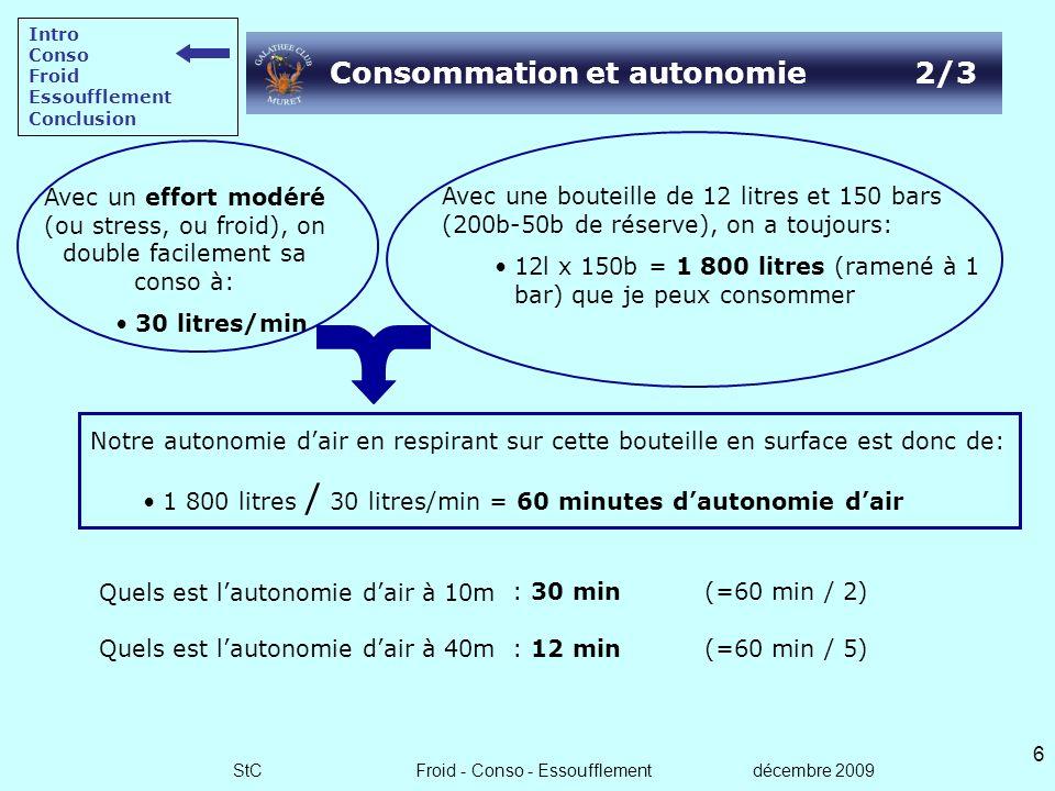 StC Froid - Conso - Essoufflement décembre 2009 5 Quels est lautonomie dair à 10m ? Quels est lautonomie dair à 40m ? Consommation et autonomie 1/3 No