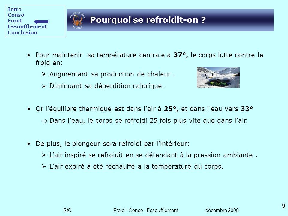 StC Froid - Conso - Essoufflement décembre 2009 8 Conclusion sur la consommation La conso est un paramètre important de lautonomie du plongeur N2. Ell