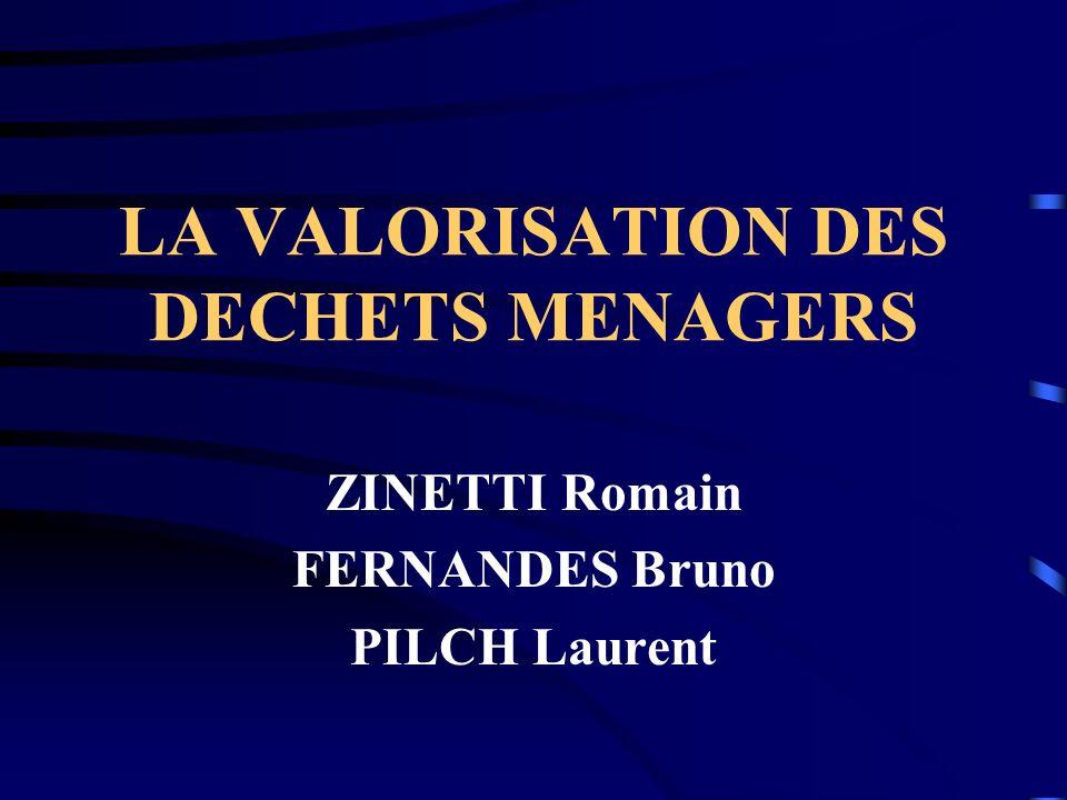 LA VALORISATION DES DECHETS MENAGERS ZINETTI Romain FERNANDES Bruno PILCH Laurent