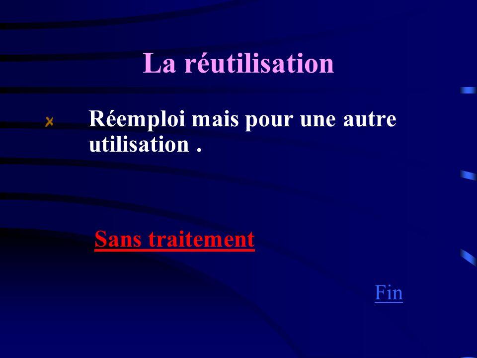 La réutilisation Réemploi mais pour une autre utilisation. Sans traitement Fin