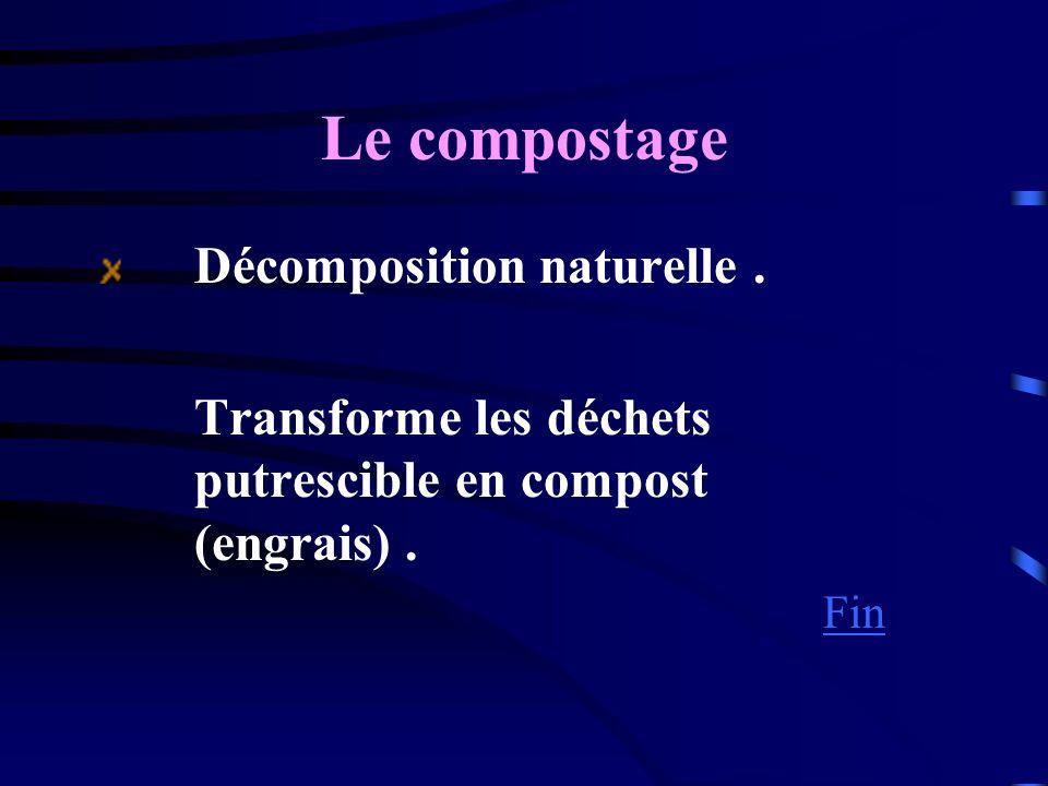 Le compostage Décomposition naturelle. Transforme les déchets putrescible en compost (engrais). Fin