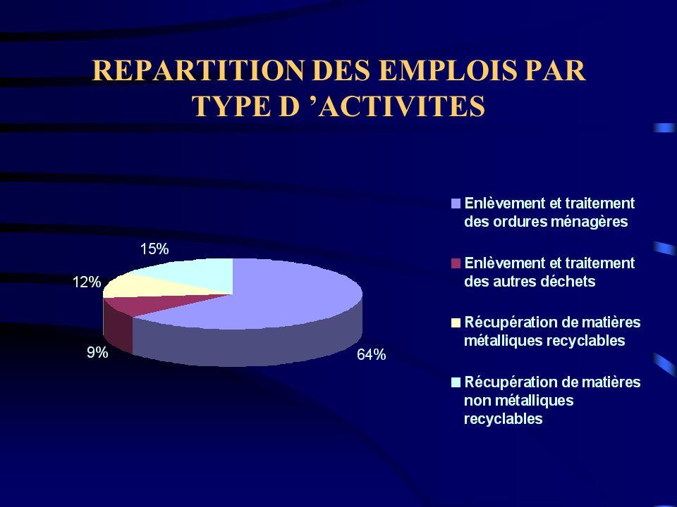 REPARTITION DES EMPLOIS PAR TYPE D ACTIVITES