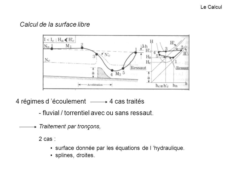 Le Calcul Calcul de la surface libre 4 régimes d écoulement 4 cas traités - fluvial / torrentiel avec ou sans ressaut.
