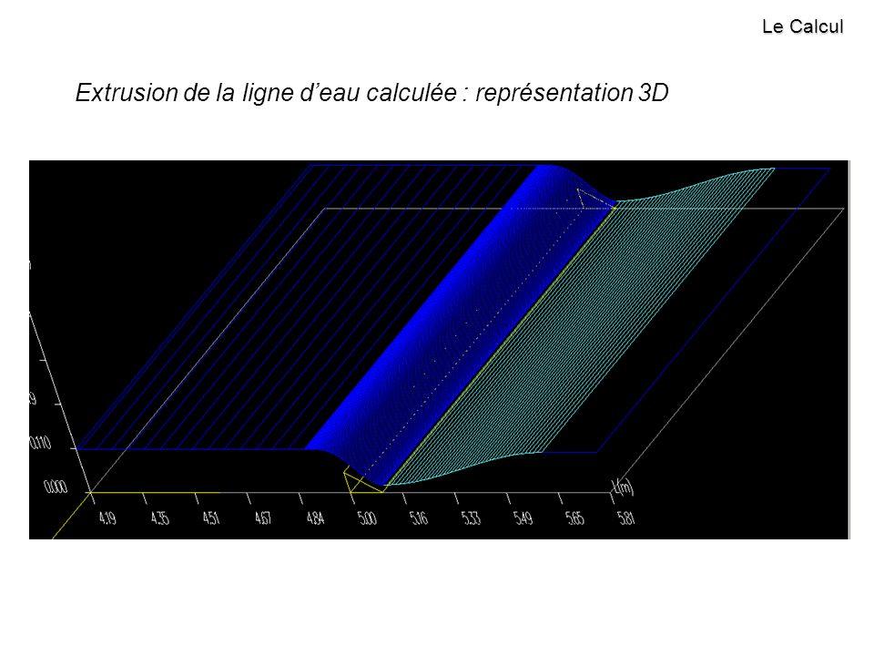 Le Calcul Extrusion de la ligne deau calculée : représentation 3D