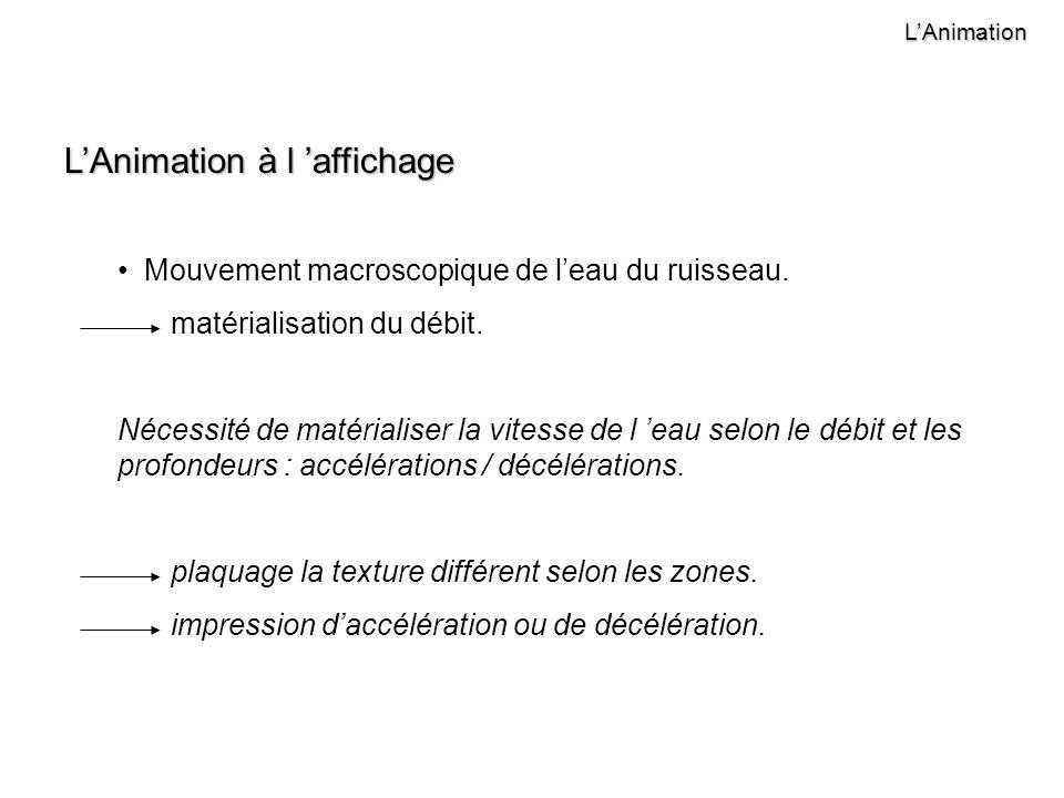 LAnimation LAnimation à l affichage Mouvement macroscopique de leau du ruisseau.