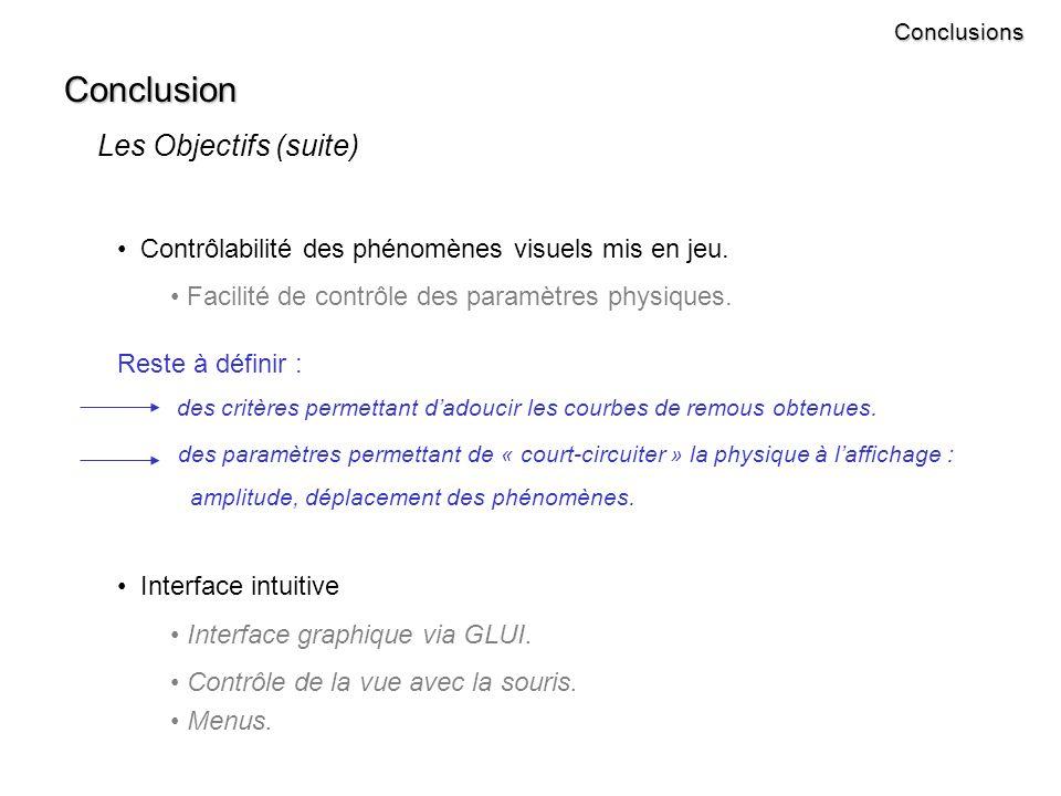 Conclusion Les Objectifs (suite) Contrôlabilité des phénomènes visuels mis en jeu.