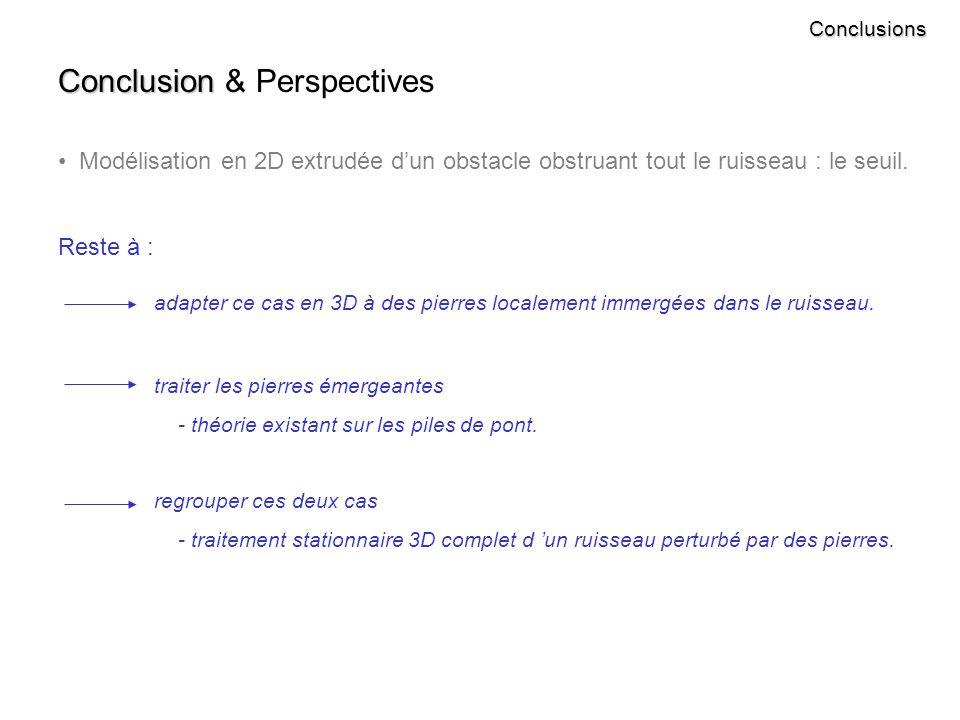 Conclusions Conclusion Conclusion & Perspectives Modélisation en 2D extrudée dun obstacle obstruant tout le ruisseau : le seuil.