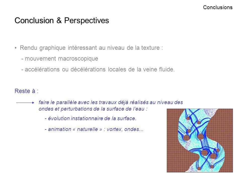 Conclusions Conclusion Conclusion & Perspectives Rendu graphique intéressant au niveau de la texture : - mouvement macroscopique - accélérations ou décélérations locales de la veine fluide.