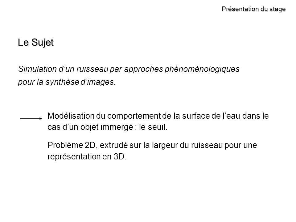 Présentation du stage Le Sujet Simulation dun ruisseau par approches phénoménologiques pour la synthèse dimages.