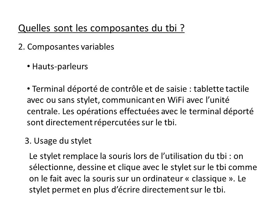 Quelles sont les composantes du tbi .2.