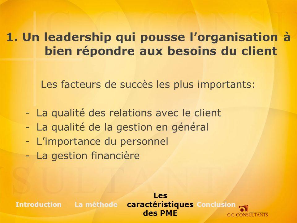 Les facteurs de succès les plus importants: -La qualité des relations avec le client -La qualité de la gestion en général -Limportance du personnel -La gestion financière IntroductionLa méthode Les caractéristiques des PME Conclusion 1.