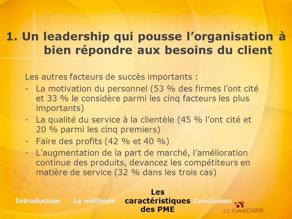 Les autres facteurs de succès importants : -La motivation du personnel (53 % des firmes lont cité et 33 % le considère parmi les cinq facteurs les plu