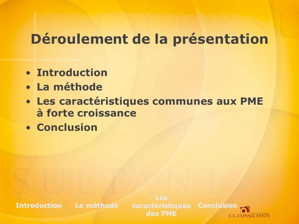 Déroulement de la présentation Introduction La méthode Les caractéristiques communes aux PME à forte croissance Conclusion IntroductionLa méthode Les caractéristiques des PME Conclusion