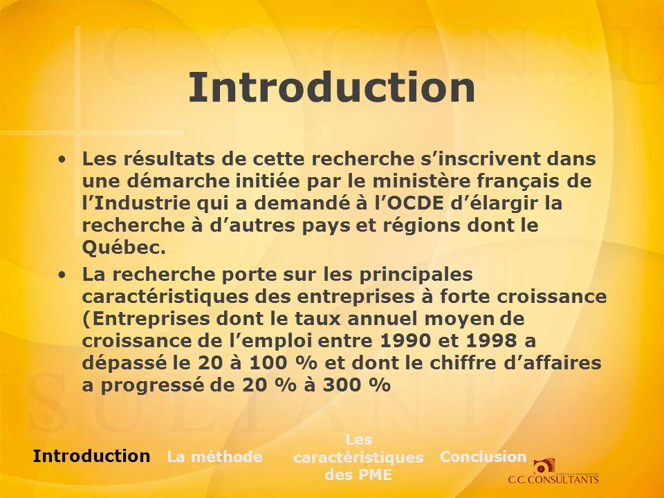 Introduction Les résultats de cette recherche sinscrivent dans une démarche initiée par le ministère français de lIndustrie qui a demandé à lOCDE délargir la recherche à dautres pays et régions dont le Québec.