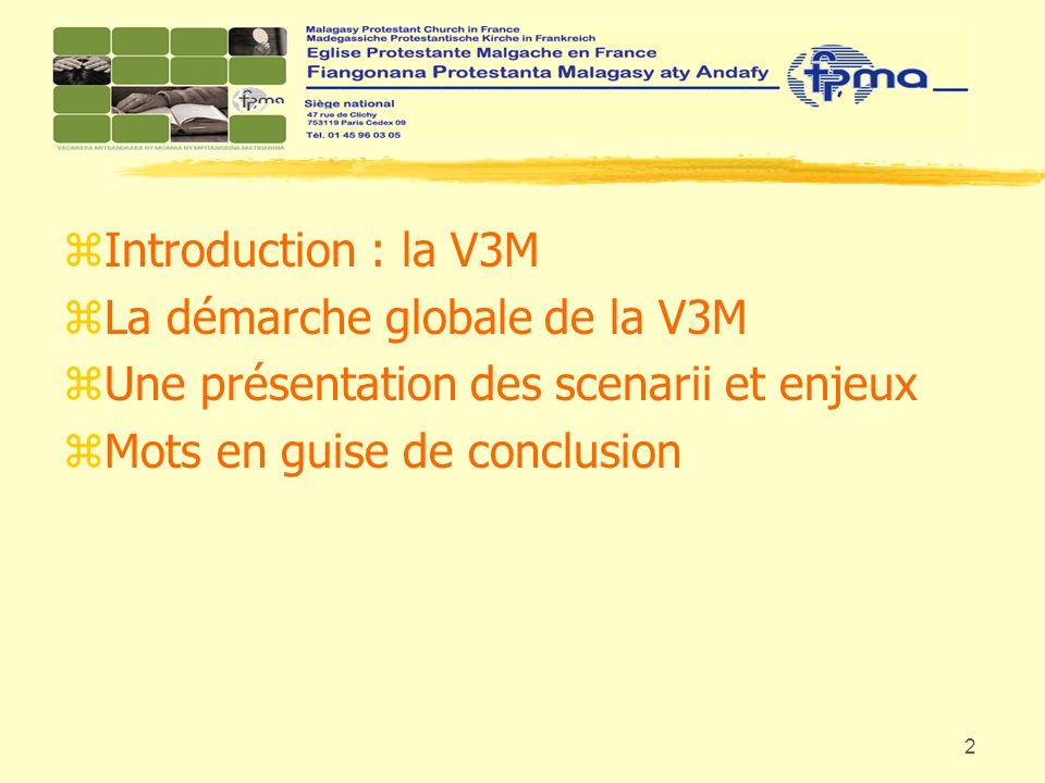 3 zLa V3M zLa démarche globale zLes scenarii et les enjeux zConclusion La commission V3M créée lors du Synode National de la FPMA les 10-11-12 novembre 2006 à Orléans.