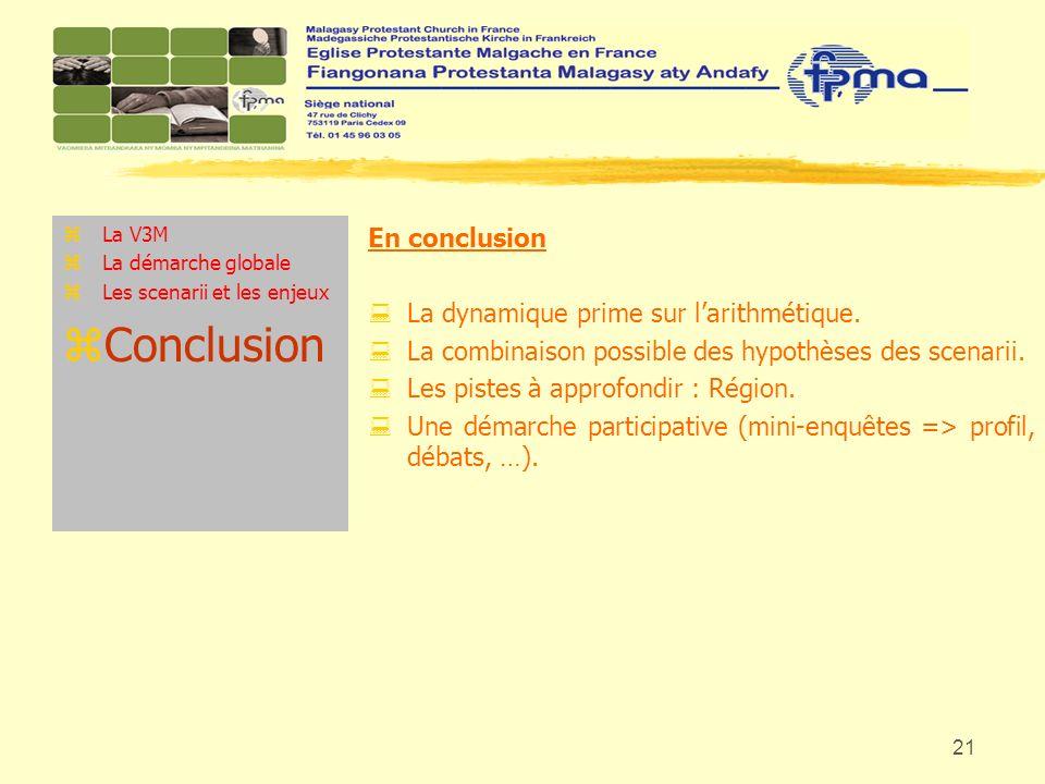 21 zLa V3M zLa démarche globale zLes scenarii et les enjeux zConclusion En conclusion : La dynamique prime sur larithmétique. : La combinaison possibl