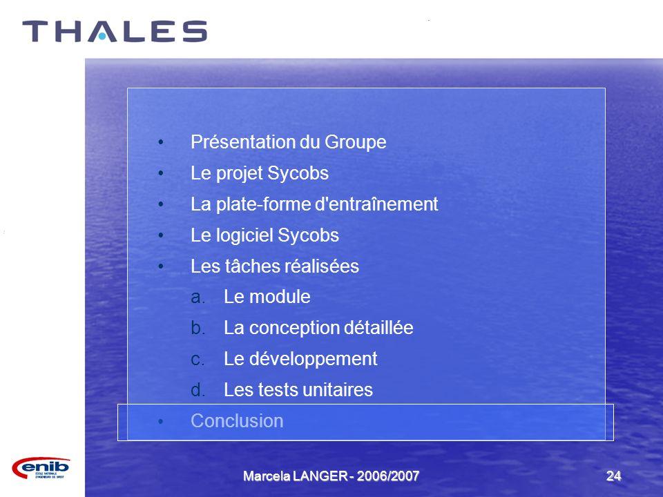 Marcela LANGER - 2006/200724 Présentation du Groupe Le projet Sycobs La plate-forme d'entraînement Le logiciel Sycobs Les tâches réalisées a.Le module