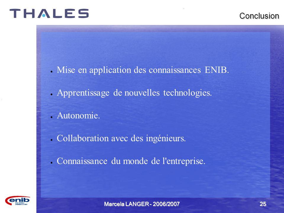 Marcela LANGER - 2006/200725 Conclusion Mise en application des connaissances ENIB. Apprentissage de nouvelles technologies. Autonomie. Collaboration