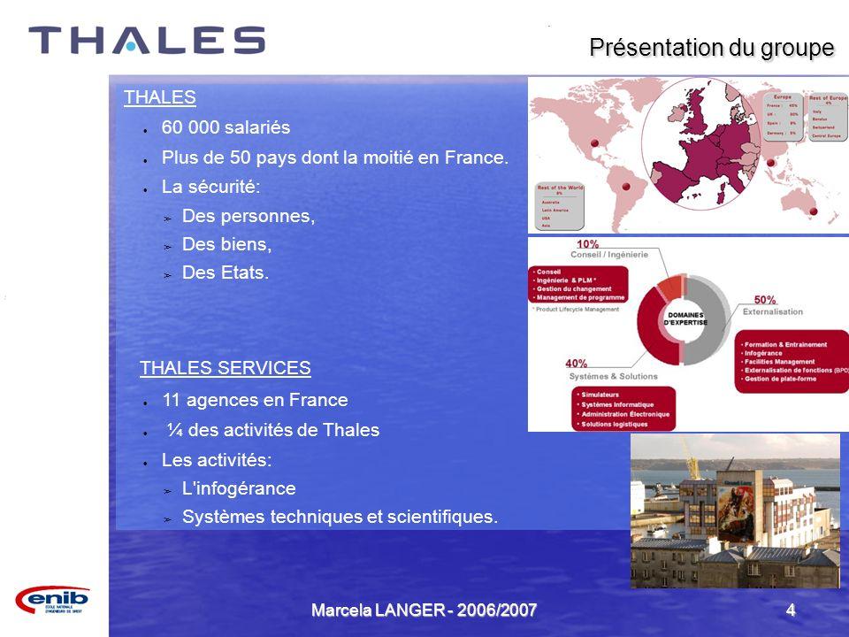 Marcela LANGER - 2006/20074 THALES 60 000 salariés Plus de 50 pays dont la moitié en France. La sécurité: Des personnes, Des biens, Des Etats. THALES