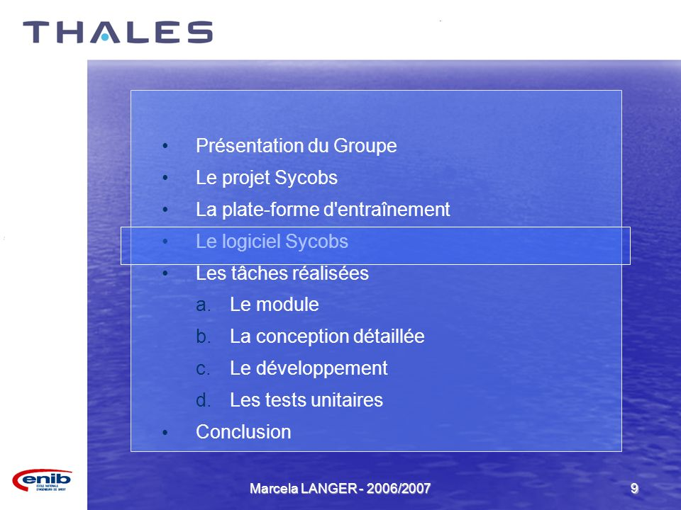 Marcela LANGER - 2006/20079 Présentation du Groupe Le projet Sycobs La plate-forme d'entraînement Le logiciel Sycobs Les tâches réalisées a.Le module