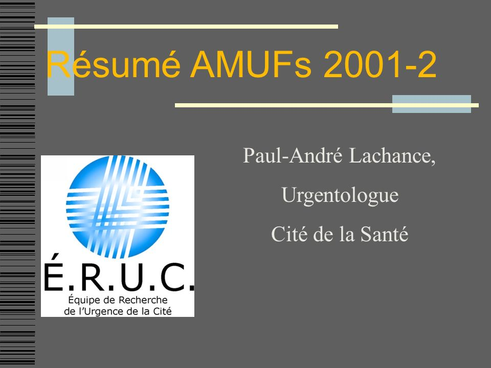 AMUF Septembre 2001 La thrombolyse de lACV