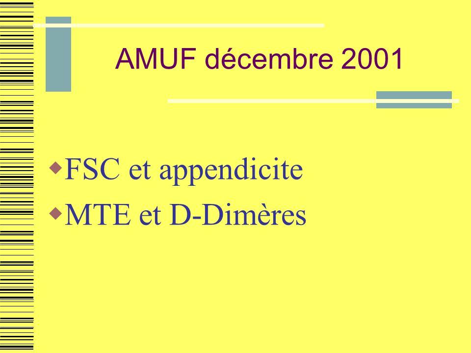 AMUF décembre 2001 FSC et appendicite MTE et D-Dimères