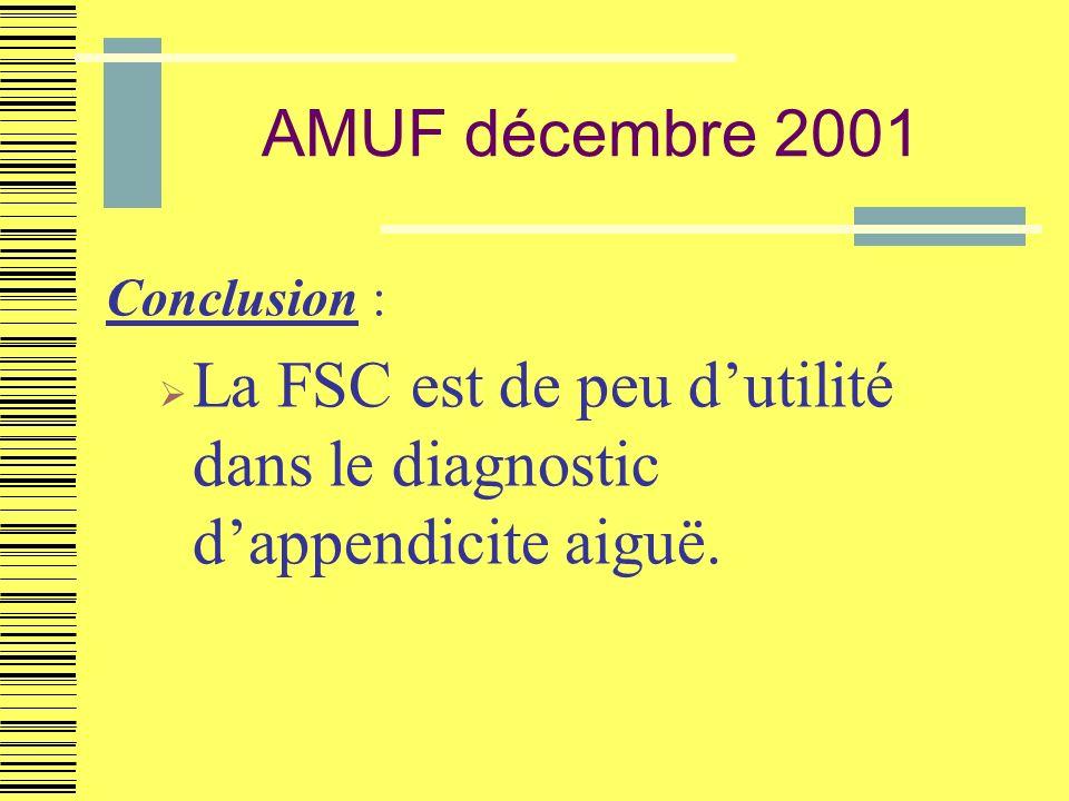 AMUF décembre 2001 Conclusion : La FSC est de peu dutilité dans le diagnostic dappendicite aiguë.