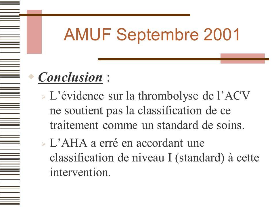 AMUF avril 2002 Conclusion : La RDC canadienne (algorythme décisionnel) est prometteuse, mais à un niveau de développement insuffisant (niveau IV) pour être appliqué cliniquement à ce stade.