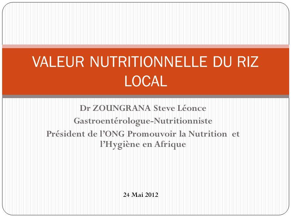 Dr ZOUNGRANA Steve Léonce Gastroentérologue-Nutritionniste Président de lONG Promouvoir la Nutrition et lHygiène en Afrique VALEUR NUTRITIONNELLE DU R