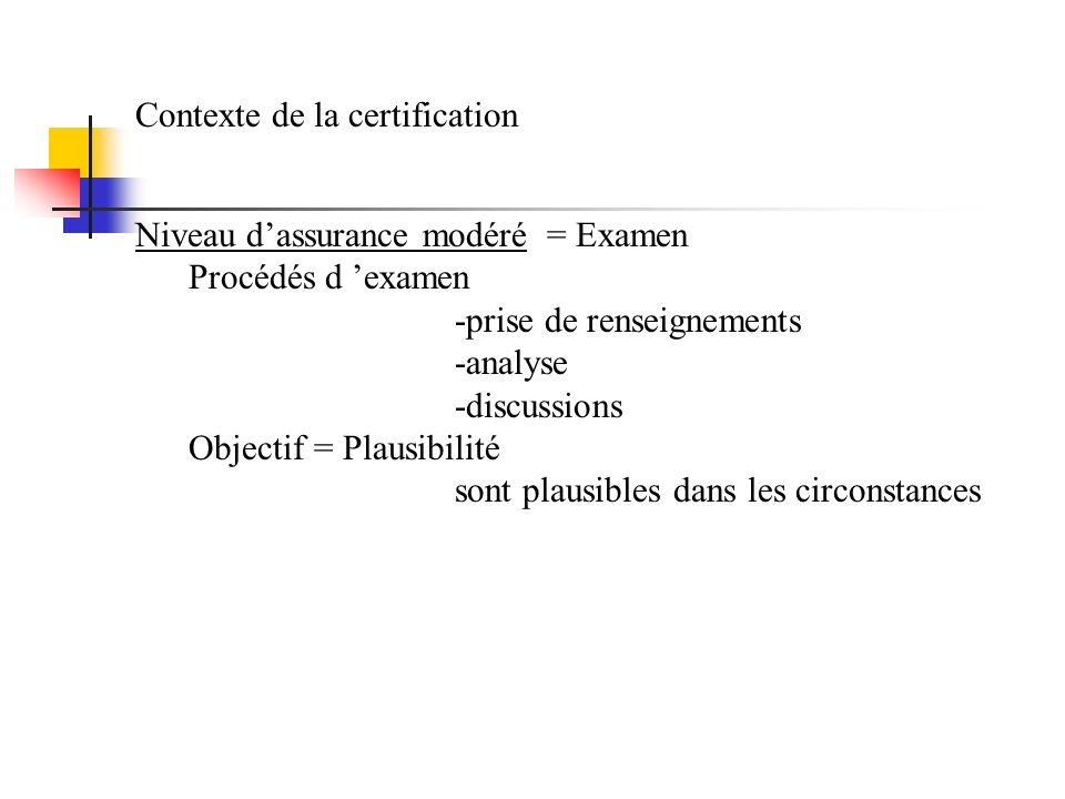 Contexte de la certification Niveau dassurance modéré = Examen Procédés d examen -prise de renseignements -analyse -discussions Objectif = Plausibilit