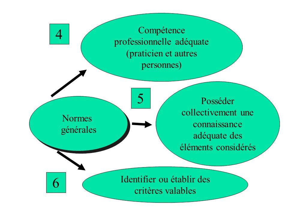 Normes générales Normes générales Compétence professionnelle adéquate (praticien et autres personnes) 4 Posséder collectivement une connaissance adéqu