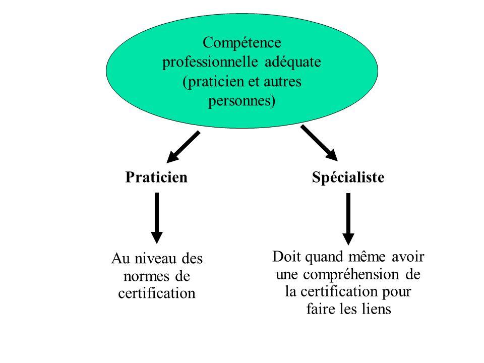 Compétence professionnelle adéquate (praticien et autres personnes) Praticien Au niveau des normes de certification Doit quand même avoir une compréhe