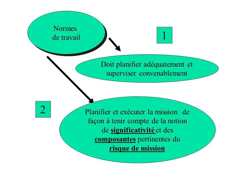 Normes de travail Normes de travail Doit planifier adéquatement et superviser convenablement 1 Planifier et exécuter la mission de façon à tenir compt