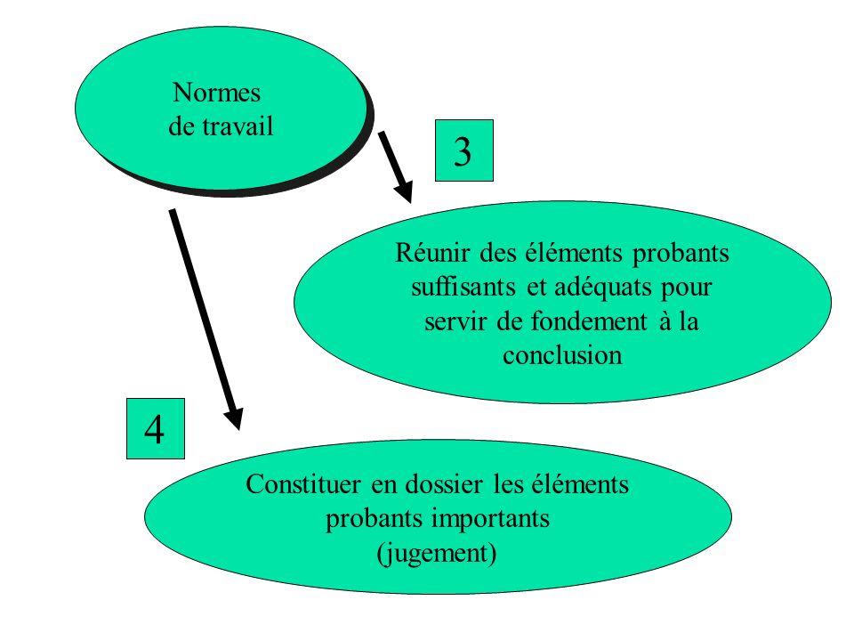 Normes de travail Normes de travail Réunir des éléments probants suffisants et adéquats pour servir de fondement à la conclusion 3 Constituer en dossi