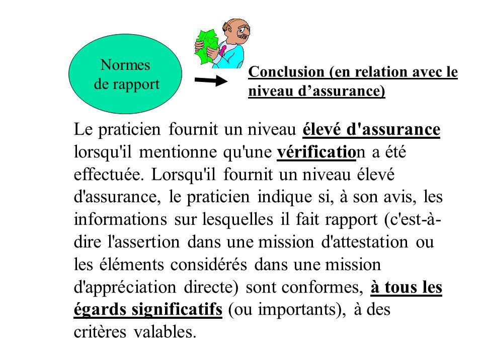Normes de rapport Conclusion (en relation avec le niveau dassurance) Le praticien fournit un niveau élevé d'assurance lorsqu'il mentionne qu'une vérif