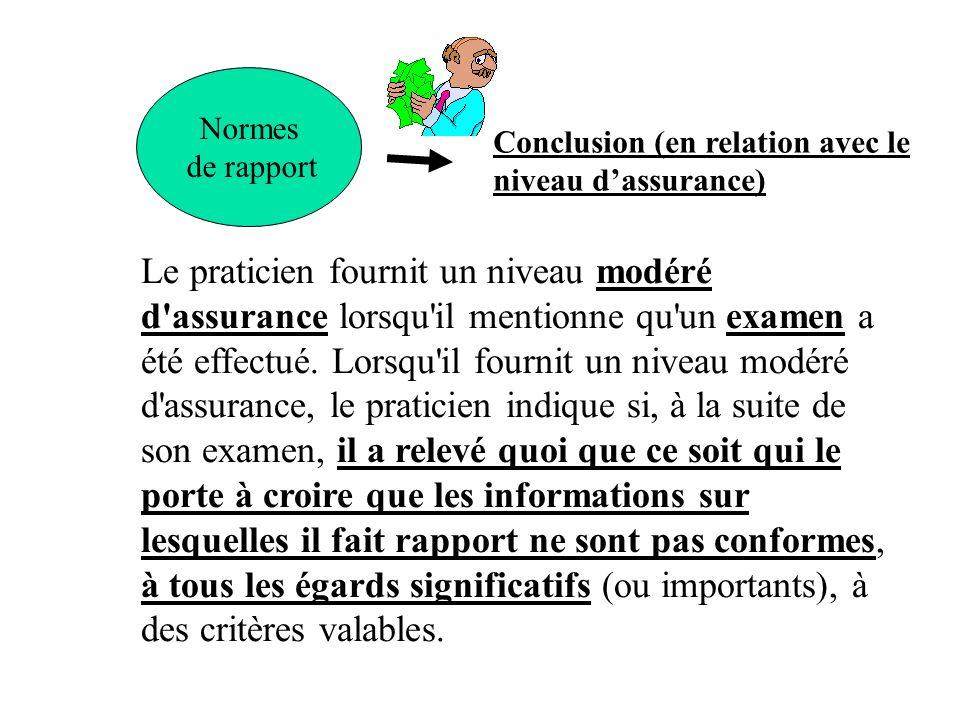 Normes de rapport Conclusion (en relation avec le niveau dassurance) Le praticien fournit un niveau modéré d'assurance lorsqu'il mentionne qu'un exame