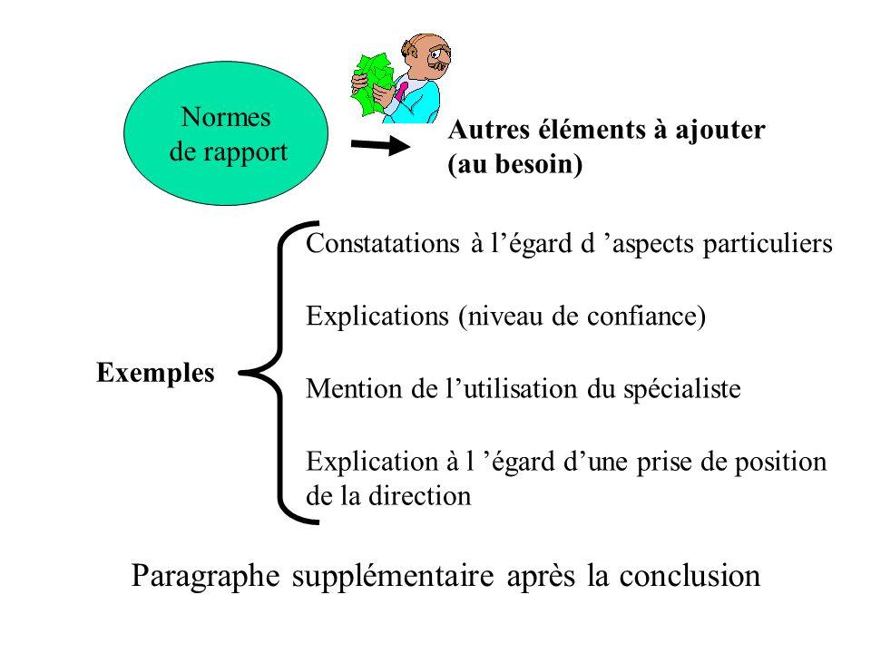 Normes de rapport Autres éléments à ajouter (au besoin) Paragraphe supplémentaire après la conclusion Exemples Constatations à légard d aspects partic