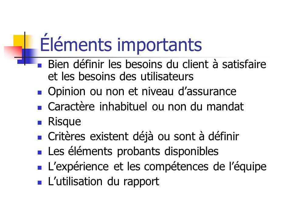 Attestation ÉlevéModéré Niveau d assurance Appréciation directe ÉlevéModéré Niveau d assurance Certification