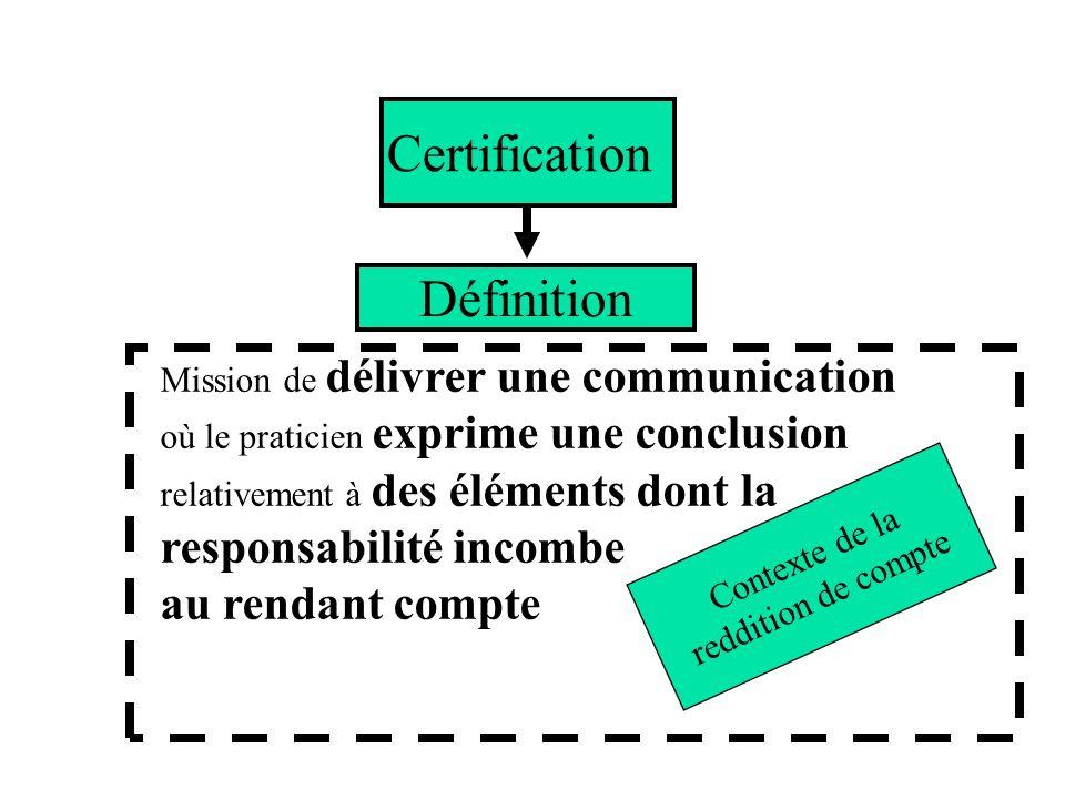 Mission de délivrer une communication où le praticien exprime une conclusion relativement à des éléments dont la responsabilité incombe au rendant com