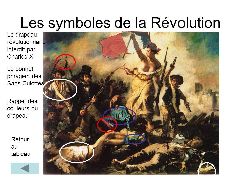Les symboles de la Révolution Retour au tableau Le drapeau révolutionnaire interdit par Charles X Le bonnet phrygien des Sans Culottes Rappel des coul