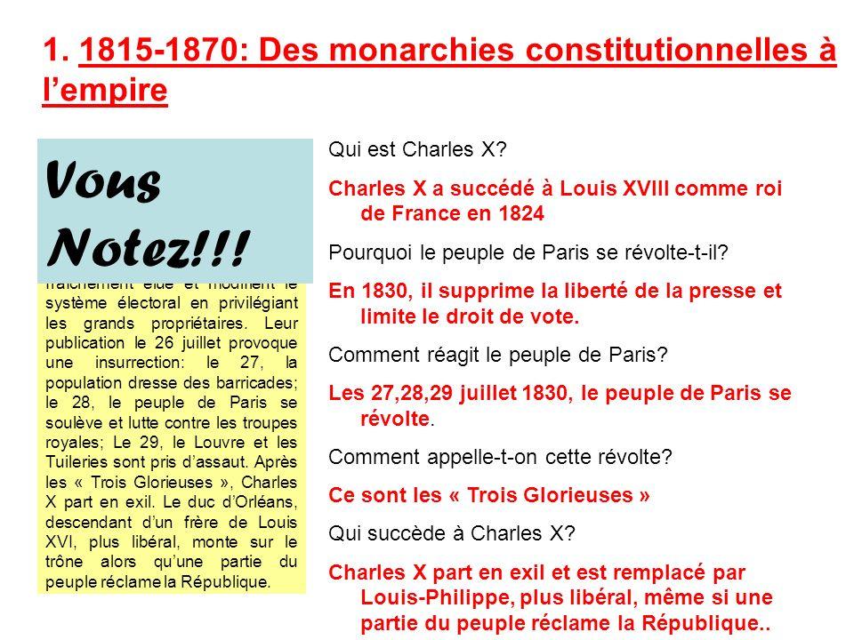 Evénement: La Révolution de 1830 Le 25 juillet 1830, Charles X signe des ordonnances qui suppriment la liberté de la presse, dissolvent la chambre des