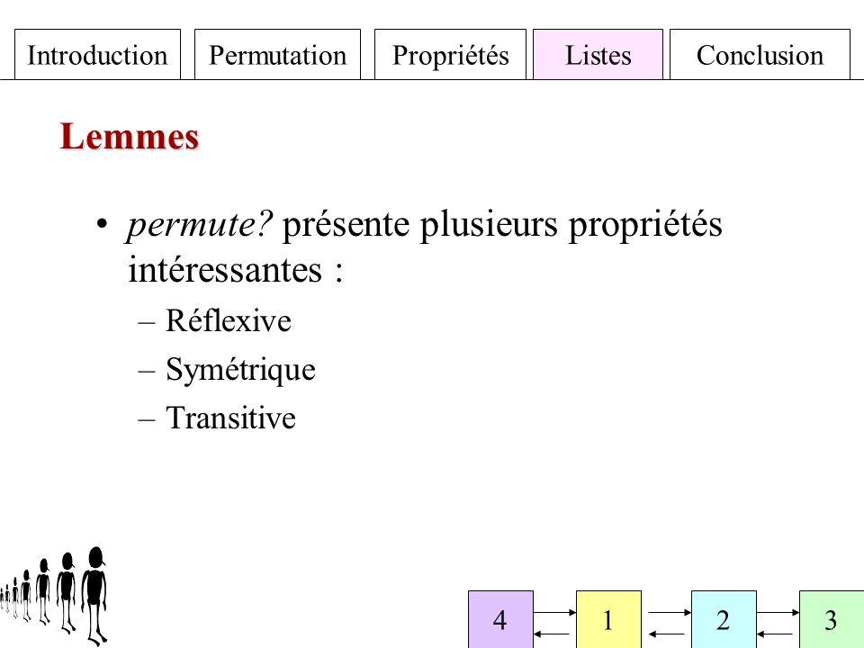 IntroductionPermutationPropriétésListesConclusion 4123 Lemmes permute.