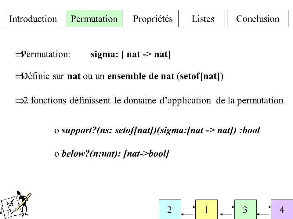 IntroductionPermutationPropriétésListesConclusion 4123 Contexte fini Théorie paramétrée par le type des éléments des listes On se rapporte au cas de permutations sur des intervalles entiers en assimilant un élément de la liste à son rang dans la liste